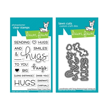 Lawn Fawn SET LONG DISTANCE HUGS Clear Stamps and Dies lfldh