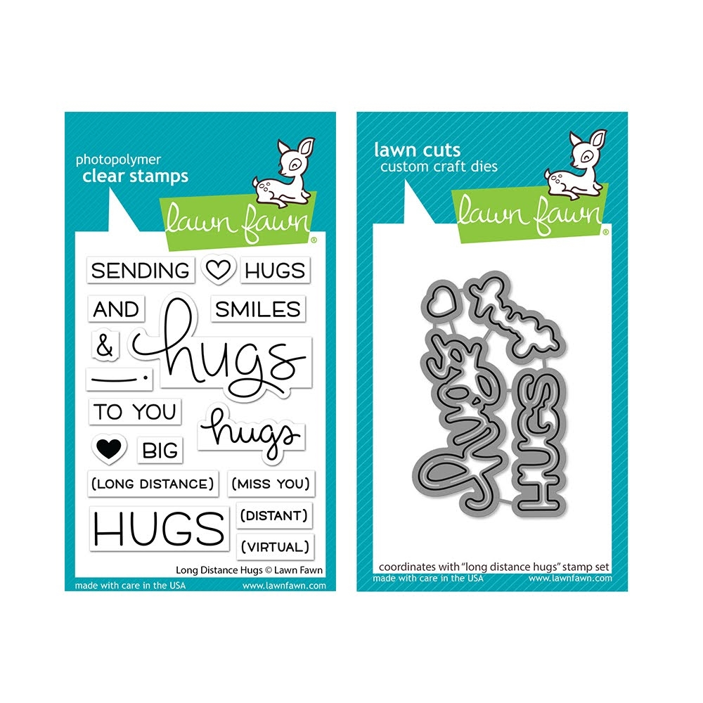 Lawn Fawn SET LONG DISTANCE HUGS Clear Stamps and Dies lfldh zoom image