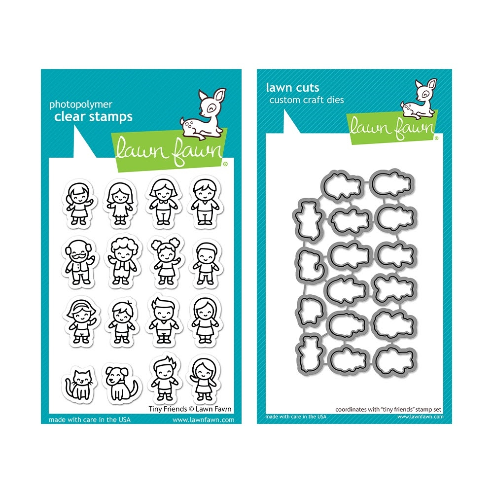 Lawn Fawn SET TINY FRIENDS Clear Stamps and Dies lftf zoom image
