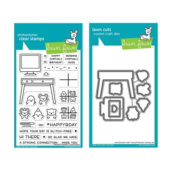 Lawn Fawn SET VIRTUAL FRIENDS Clear Stamps and Dies lfvf