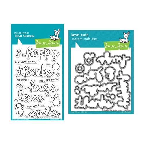 Lawn Fawn SET SCRIPTY BUBBLE SENTIMENTS Clear Stamps and Dies lfsbs Preview Image