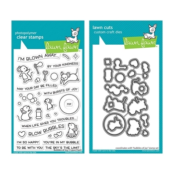 RESERVE Lawn Fawn SET BUBBLES OF JOY Clear Stamps and Dies lfboj