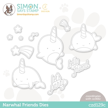 CZ Design Wafer Dies NARWHAL FRIENDS czd129c Hello Beautiful