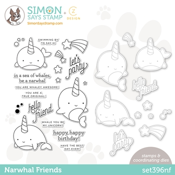 CZ Design Stamps and Dies NARWHAL FRIENDS set396nf Hello Beautiful