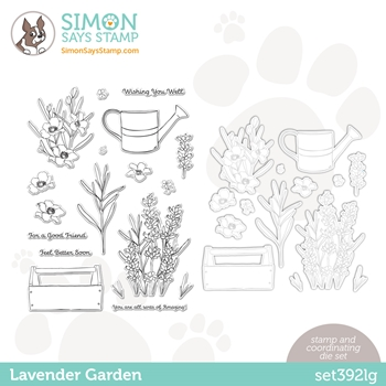 Simon Says Stamps and Dies LAVENDER GARDEN set392lg Hello Beautiful *