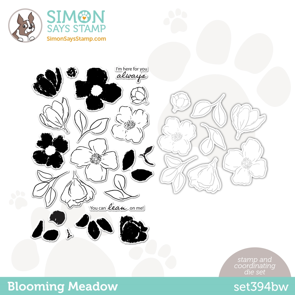 Simon Says Stamps and Dies BLOOMING MEADOW set394bw Hello Beautiful zoom image
