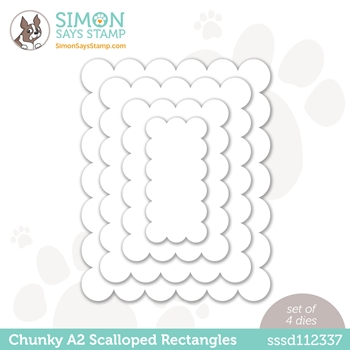 Simon Says Stamp CHUNKY A2 SCALLOPED RECTANGLES Wafer Dies  sssd112337 Hello Beautiful