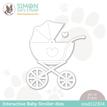 Simon Says Stamp INTERACTIVE BABY STROLLER Wafer Dies w 50 brads sssd112304 Hello Beautiful
