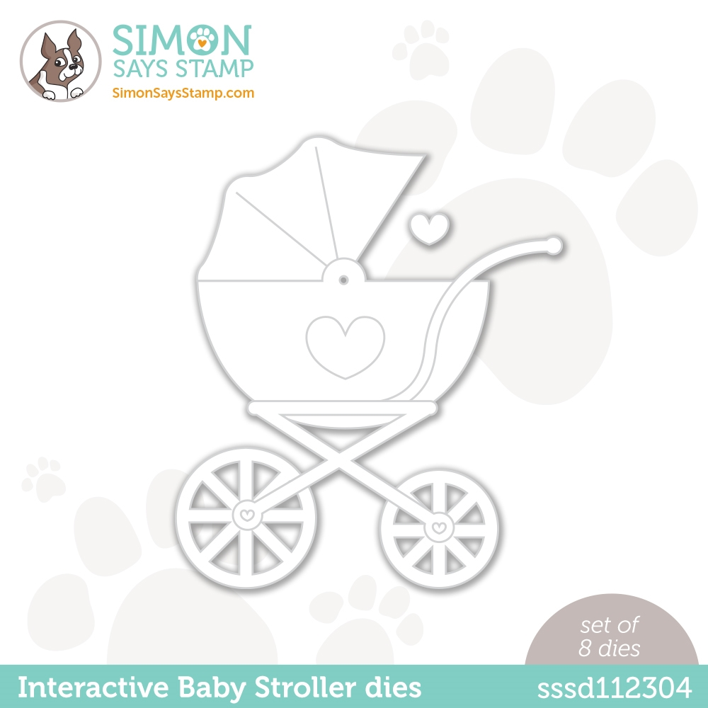 Simon Says Stamp INTERACTIVE BABY STROLLER Wafer Dies w 50 brads sssd112304 Hello Beautiful zoom image