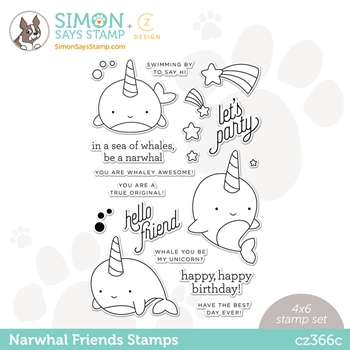 CZ Design Clear Stamps NARWHAL FRIENDS cz366c Hello Beautiful