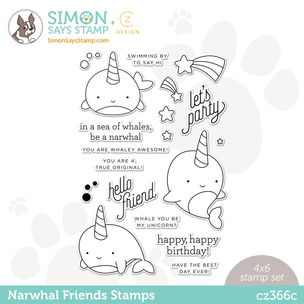 CZ Design Clear Stamps NARWHAL FRIENDS cz366c Hello Beautiful zoom image