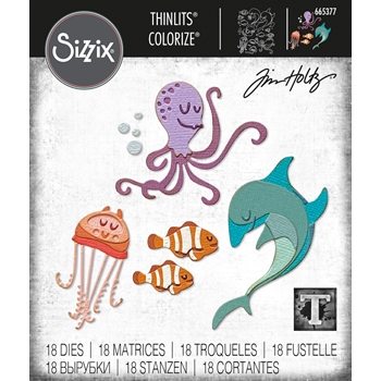 Tim Holtz Sizzix UNDER THE SEA 1 Colorize Thinlits Dies 665377