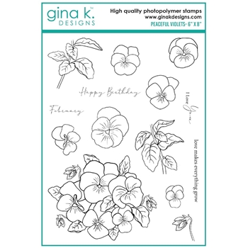 Gina K Designs PEACEFUL VIOLETS Clear Stamps 7542