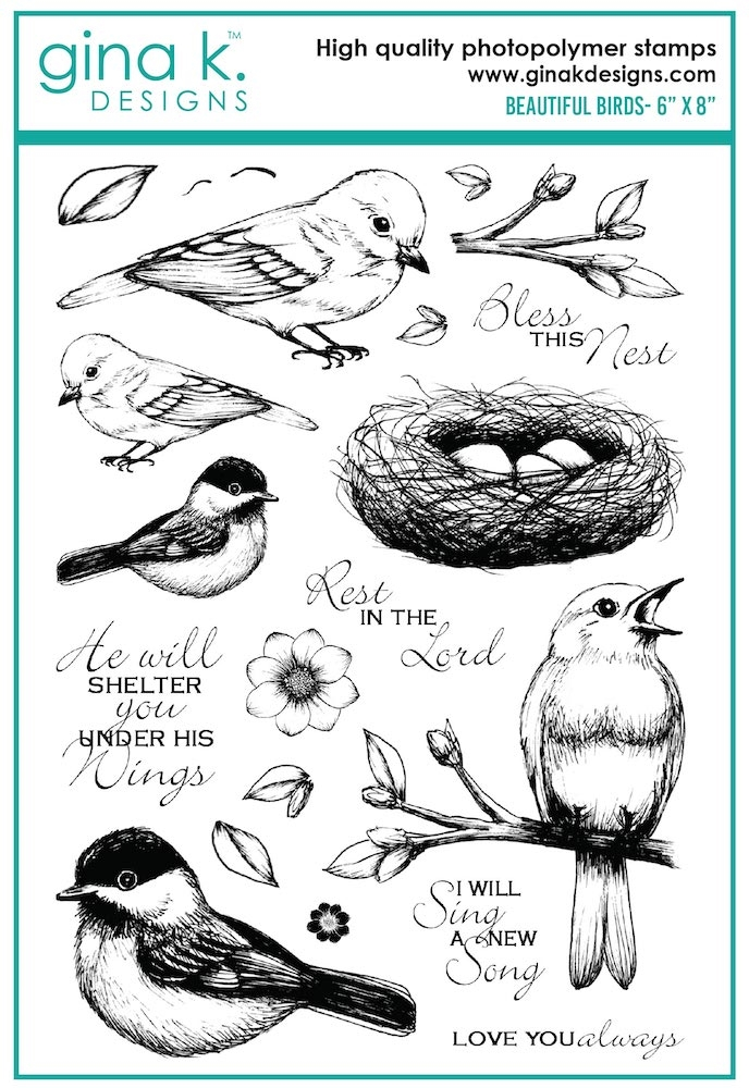 Gina K Designs BEAUTIFUL BIRDS Clear Stamps 7498 zoom image