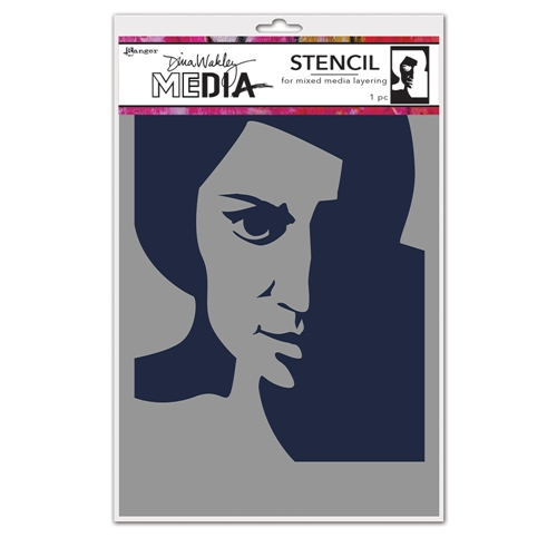 Dina Wakley PENSIVE FACE Media Stencil Ranger mds74861 Preview Image