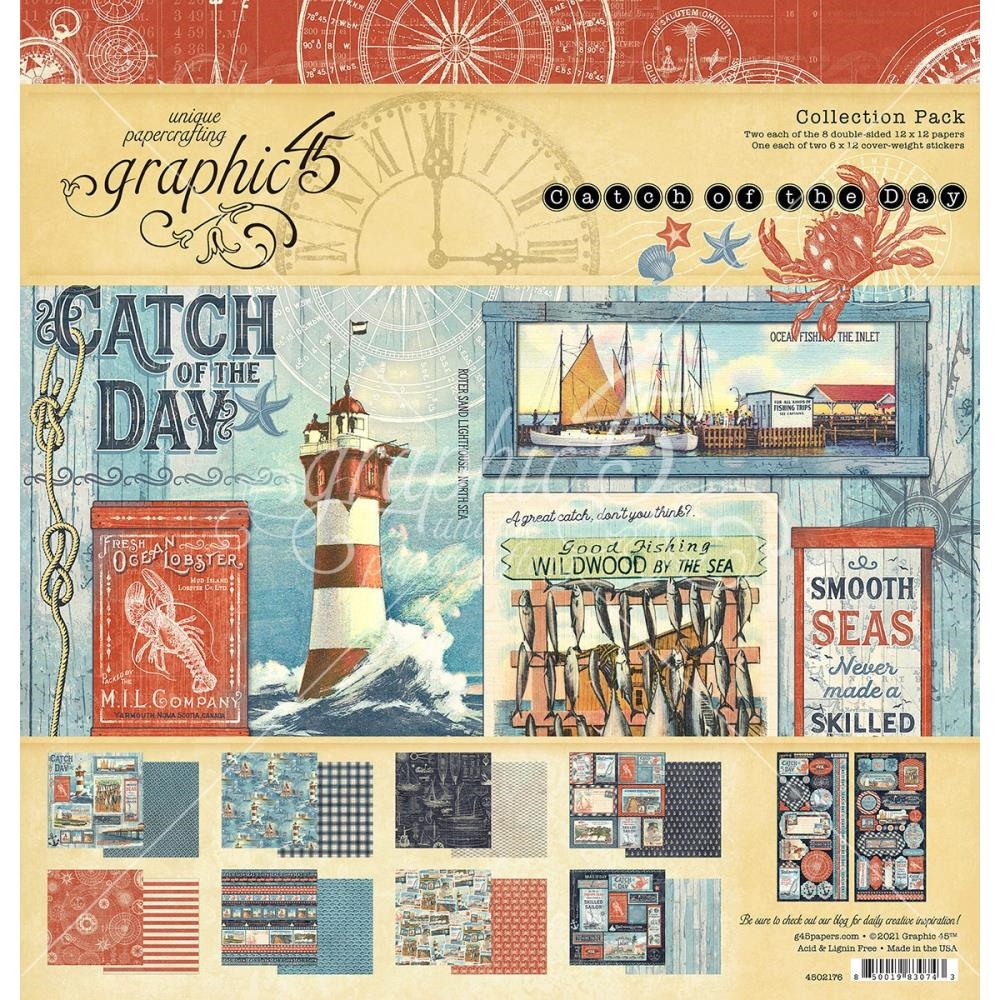 Graphic 45 CATCH OF THE DAY 12 x 12 Paper Pad 4502176 zoom image