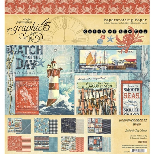 Graphic 45 CATCH OF THE DAY 8 x 8 Paper Pad 4502175 Preview Image
