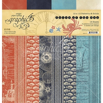 Graphic 45 CATCH OF THE DAY 12 x 12 Patterns And Solids Paper Pad 4502177