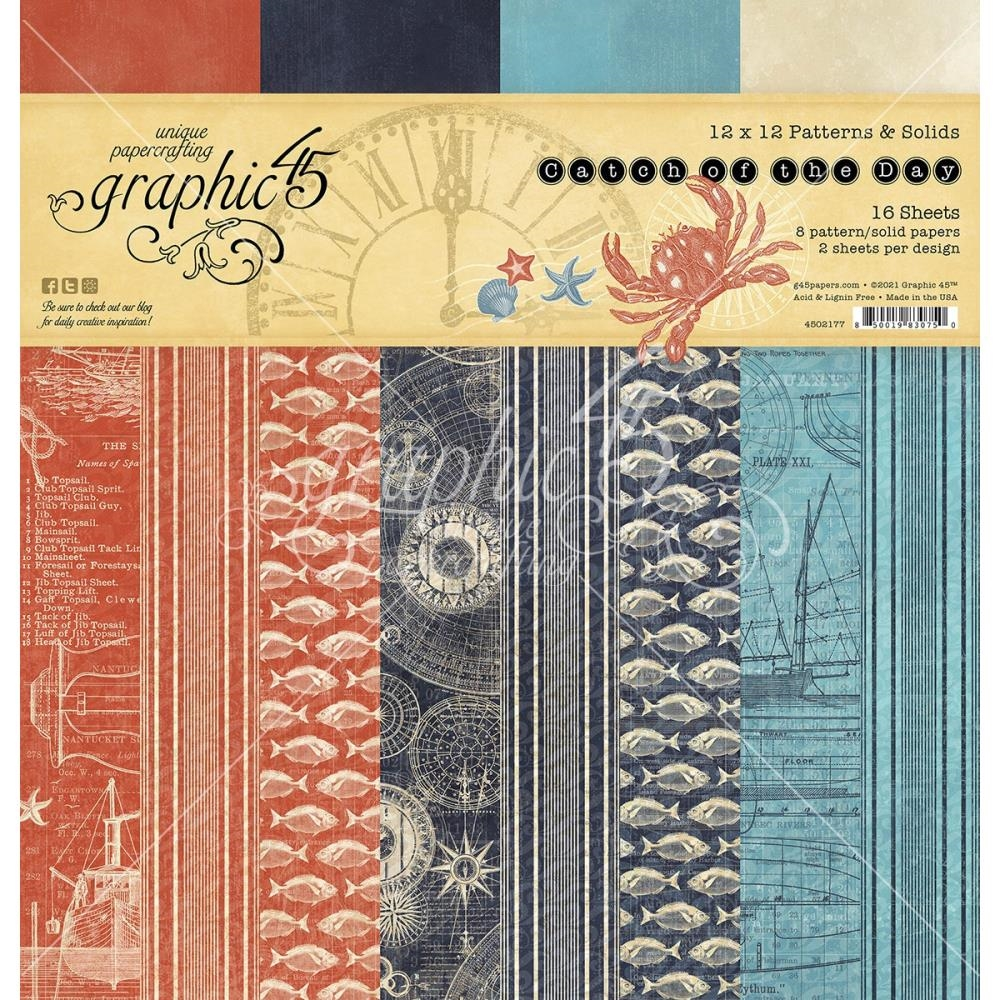 Graphic 45 CATCH OF THE DAY 12 x 12 Patterns And Solids Paper Pad 4502177 zoom image