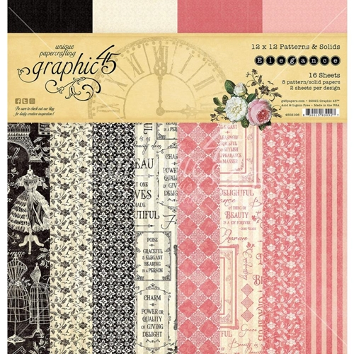 Graphic 45 ELEGANCE 12 x 12 Patterns And Solids Paper Pad 4502196 Preview Image