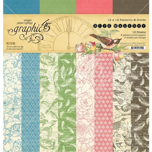 Graphic 45 BIRD WATCHER 12 x 12 Patterns And Solids Paper Pad 4502212 Preview Image