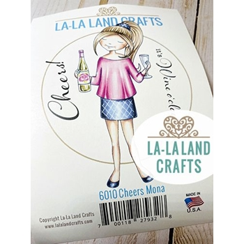 La-La Land Crafts Cling Stamps CHEERS MONA 6010