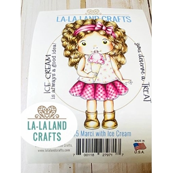 La-La Land Crafts Cling Stamp MARCI WITH ICE CREAM 5455