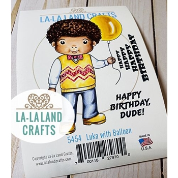 La-La Land Crafts Cling Stamps LUKA WITH BALLOON 5454