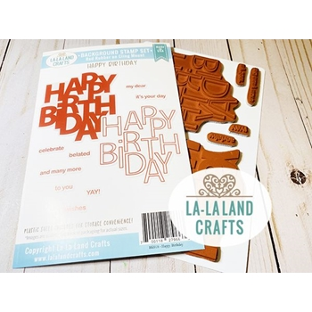 La-La Land Crafts Cling Stamps HAPPY BIRTHDAY BACKGROUND BK020