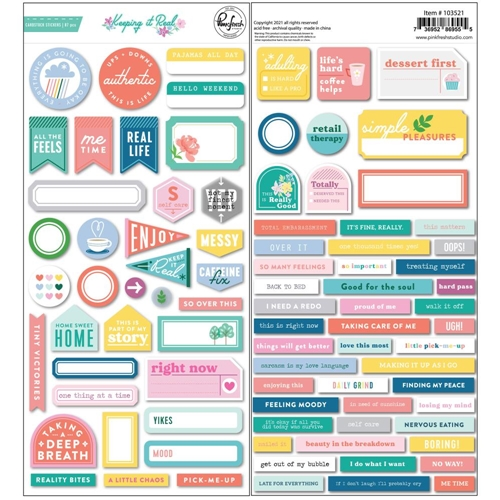 PinkFresh Studio KEEPING IT REAL Cardstock Stickers 103521 Preview Image