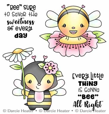 Darcie's BEE ALL RIGHT Clear Stamp Set pol492 Preview Image