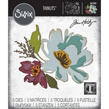 Tim Holtz Sizzix BRUSHSTROKE FLOWERS 3 Thinlits Dies 665360