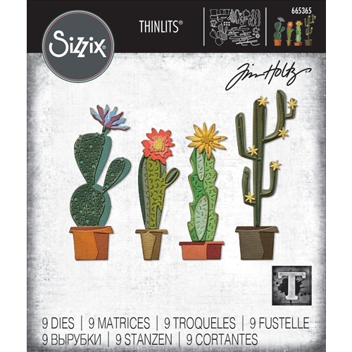 Tim Holtz Sizzix FUNKY CACTUS Thinlits Dies 665365 Preview Image