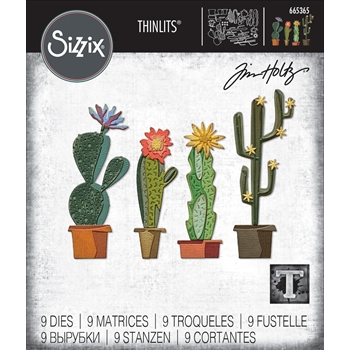 RESERVE Tim Holtz Sizzix FUNKY CACTUS Thinlits Dies 665365