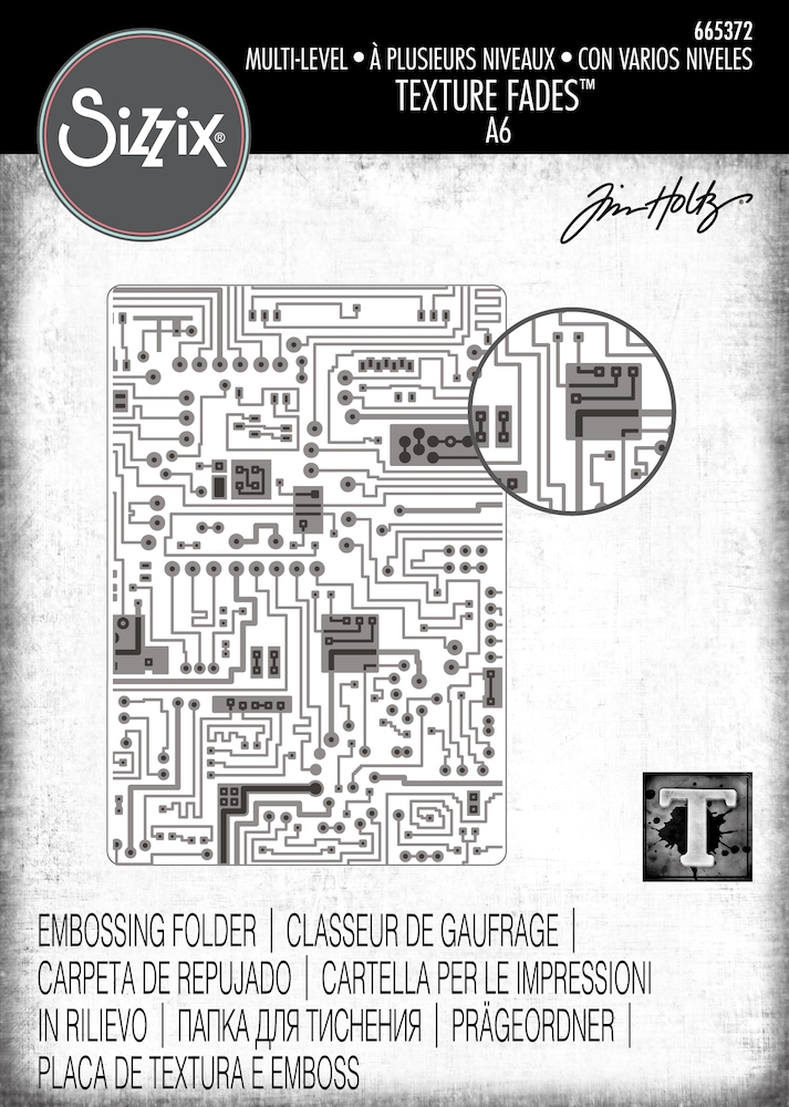 Tim Holtz Sizzix CIRCUIT 3D Texture Fades Embossing Folder 665372 zoom image