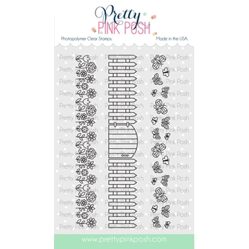 Pretty Pink Posh SPRING BORDERS Clear Stamps