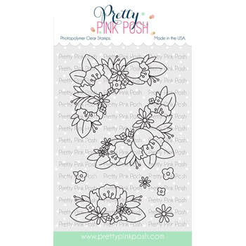 Pretty Pink Posh FLORAL CORNERS Clear Stamps