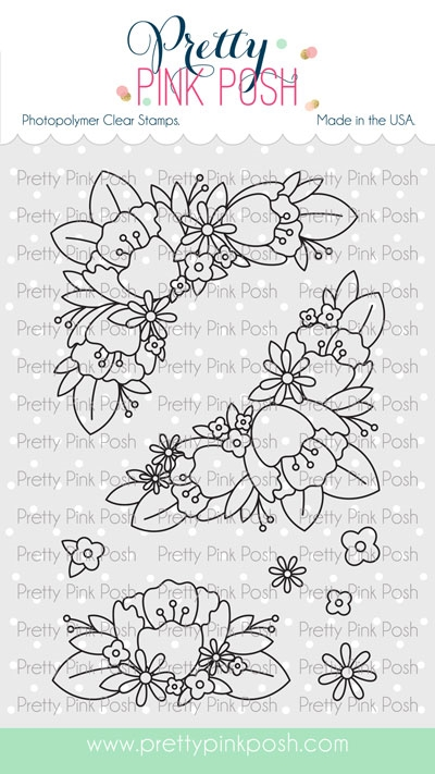 Pretty Pink Posh FLORAL CORNERS Clear Stamps zoom image