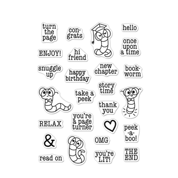 Hero Arts Clear Stamps BOOKWORM MESSAGES CM523