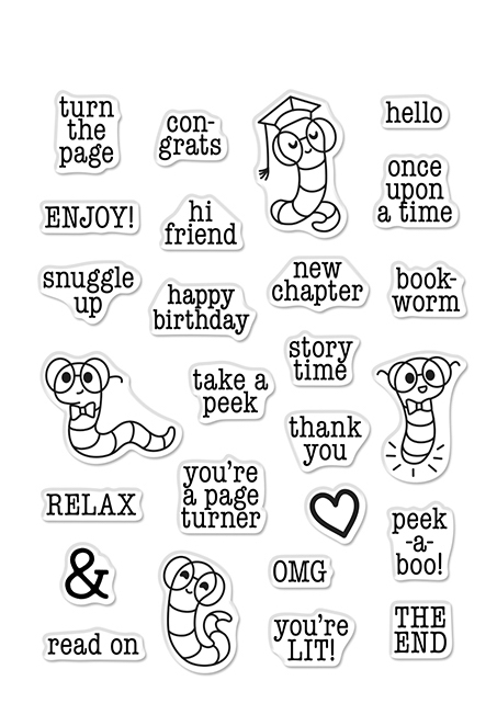 Hero Arts Clear Stamps BOOKWORM MESSAGES CM523 zoom image