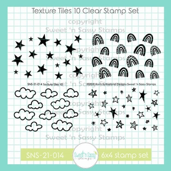 Sweet 'N Sassy TEXTURE TILES 10 Clear Stamp Set sns21014*
