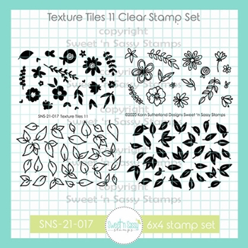 Sweet 'N Sassy TEXTURE TILES 11 Clear Stamp Set sns21017*