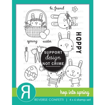 Reverse Confetti HOP INTO SPRING Clear Stamps