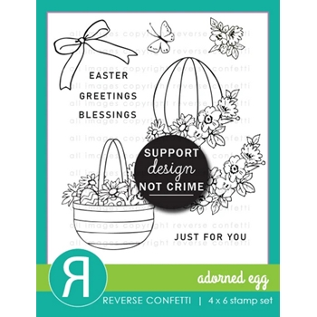 Reverse Confetti ADORNED EGG Clear Stamps