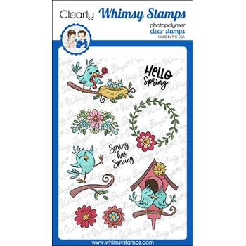 Whimsy Stamps SPRING BIRD Clear Stamps KHB175a