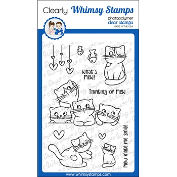 Whimsy Stamps THINKING OF MEW Clear Stamps CWSD368