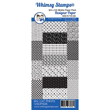 Whimsy Stamps SLIMLINE BLACK AND WHITE CAT 8.5 x 3.5 WSDPS05