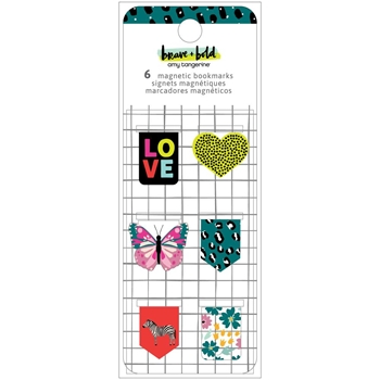 American Crafts Amy Tangerine BRAVE AND BOLD MAGNETIC BOOKMARKS 34002117
