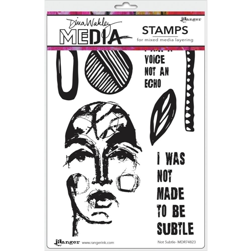 Dina Wakley NOT SUBTLE Media Cling Rubber Stamp MDR74823 Preview Image