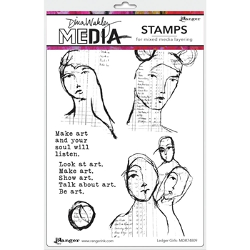Dina Wakley LEDGER GIRLS Media Cling Rubber Stamp MDR74809